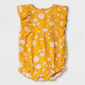 Baby Girls' Floral Woven Ruffle Leg Romper - Cat & Jack Yellow