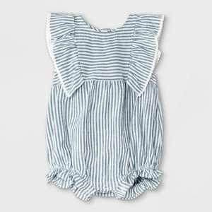 Baby Girls' Striped Woven Ruffle Leg Romper - Cat & Jack Blue/White