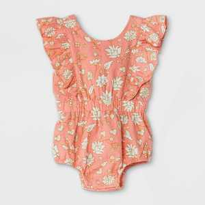 Baby Girls' Floral Woven Cinched Waist Romper - Cat & Jack Dark Peach