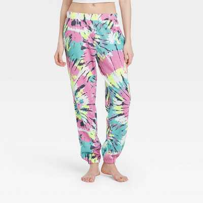 Women's Tie-Dye Fleece Lounge Jogger Pants - Colsie Pink