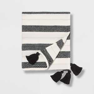 "50""x60"" Woven Striped with Tassel Throw - Pillowfort"