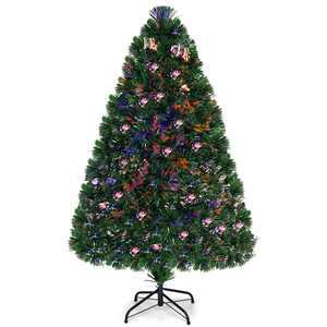 Costway 4Ft Pre-Lit Fiber Optic PVC Christmas Tree Metal Holiday