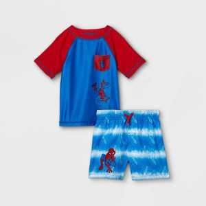 Toddler Boys' Spider-Man Rash Guard Set - Blue