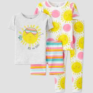 Toddler Girls' 4pc Striped Sunshine Snug Fit Pajama Set - Just One You made by carter's