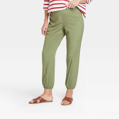The Nines by HATCH Maternity Relaxed Elastic Waist Pull-On Pants Olive Green