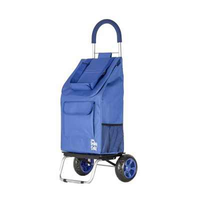 dbest products Foldable Collapsible Grocery Shopping Cart Rolling Utility Wagon Trolley Dolly with Oversized Wheels, Blue