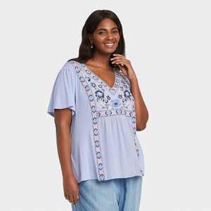Women's Short Sleeve Embroidered Top - Knox Rose