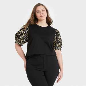Women's Puff Elbow Sleeve T-Shirt - Who What Wear Black