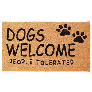 "Coco Welcome Door Mat for Outside, Indoor Outdoor Coir Doormat, Dogs Welcome People Tolerated, 17"" x 30"", Brown"