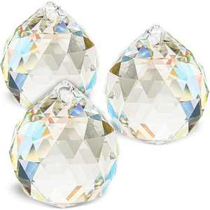 """3 Pack Clear 40mm 1.6"""" Crystal Glass Ball Prism Rainbow Maker Suncatcher Hanging Pendant for Window, Decoration, Gift, Feng Shui"""