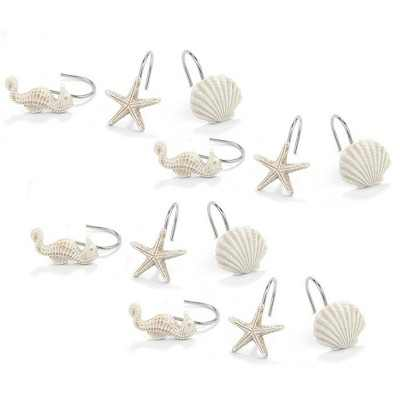 Shower Curtain Hooks - 12-Piece Decorative Rust Proof Bathroom Curtain Rings Hangers with Ocean Themed Seahorse, Seashell, Starfish Designs, White