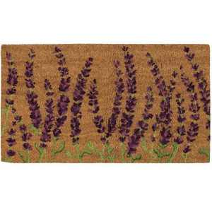 Juvale Coco Coir Door Mat – Welcome Mat Front Doormat Rugs with PVC Anti-Slip Backing, Beautiful Lavender Plants Design, Brown, 30x17.2x0.5""