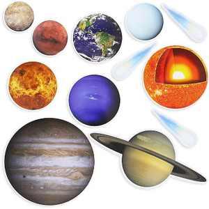 12Pcs Solar System Planet Playset Fridge Whiteboard Magnets for Kids Learning