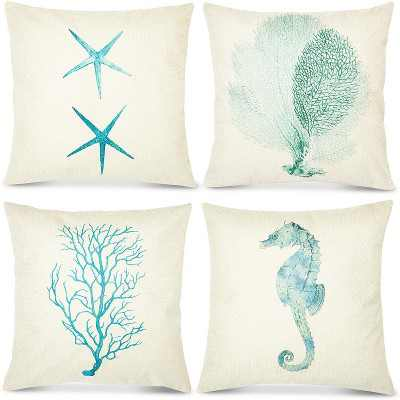 Okuna Outpost Set of 4 Nautical Ocean Decorative Throw Pillow Covers Cushion Case Protector Seahorse Starfish Coral, Standard Size 18 x 18, Beige