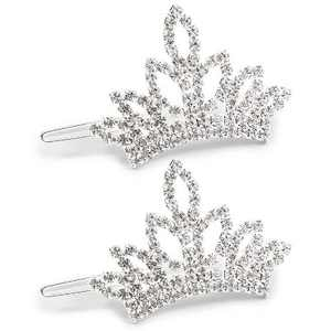2-Pack Rhinestone Crown Hair Clips Hairpin Head Accessories for Dogs Cats Pet Puppy (2.5 x 1.4)