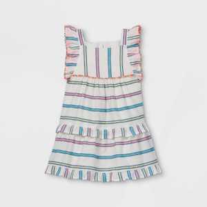 Toddler Girls' Striped Tiered Ruffle Sleeve Dress - Cat & Jack Cream