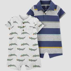 Baby Boys' 2pk Alligator Striped Romper Set - Just One You made by carter's Navy