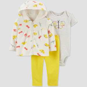 Baby Girls' Butterfly Top & Bottom Set - Just One You made by carter's Yellow