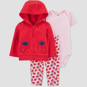 Baby Girls' Strawberry Top & Bottom Set - Just One You made by carter's Red