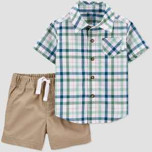 Baby Boys' 2pc Plaid Top & Bottom Set - Just One You made by carter's Green/Brown/Blue