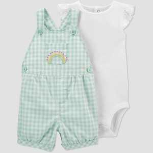 Baby Girls' Gingham Rainbow Top & Bottom Set - Just One You made by carter's Mint