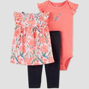 Baby Girls' Floral Butterfly Top & Bottom Set - Just One You made by carter's Coral