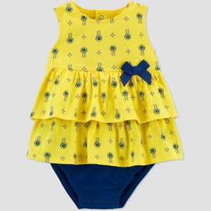Baby Girls' Geo Sunsuit Romper - Just One You made by carter's Yellow