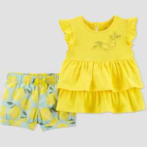 Baby Girls' Lemons Top & Bottom Set - Just One You made by carter's Yellow
