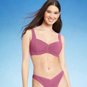 Women's Lightly Lined Pucker Ribbed Bikini Top - Shade & Shore Mauve