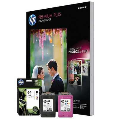 HP Inc. HP 64 Black/Color Print Cartridge/Paper Kit 4WN14A