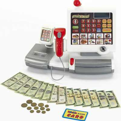 Theo Klein Electronic Interactive Pretend Toy Grocery Store Cash Register with Cash Currency and Item Scanner for Kids Ages 3 Years Old and Up