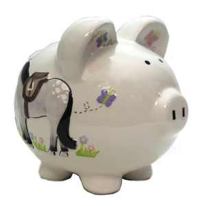 """Bank 7.5"""" Giddy Up Horse Piggy Bank Flowers Insects  -  Decorative Banks"""