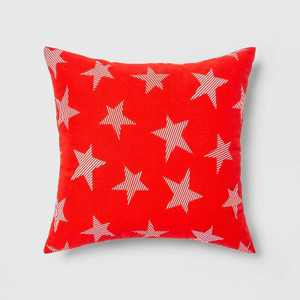Indoor/Outdoor Striped Stars Throw Pillow Red/White - Sun Squad