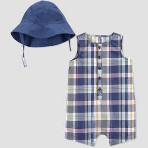 Baby Girls' Plaid Romper with Hat - Just One You made by carter's Blue