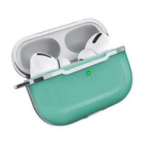 Insten Case Compatible with Apple AirPods Pro - Transparent Silicone Skin Cover with Keychain, Silver Clear Green
