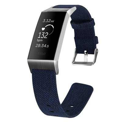 Insten Canvas Fabric Band for Fitbit Charge 4 & Charge 3 & Charge SE, Replacement Strap, Navy Blue