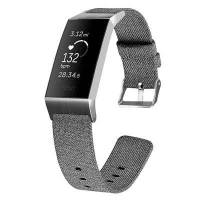 Insten Canvas Fabric Band for Fitbit Charge 4 & Charge 3 & Charge SE, Replacement Strap, Gray Black
