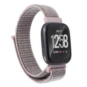 Insten Soft Woven Nylon Band for Fitbit Versa 2 / 1 / Lite / SE, Replacement Strap, Pink Sand