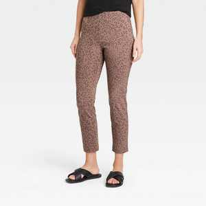 Women's Leopard Spot High-Rise Skinny Ankle Pants - A New Day Brown