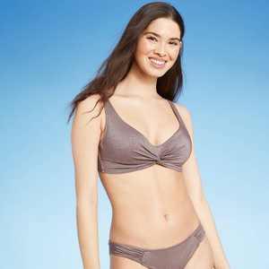 Women's Twist-Front Bralette Bikini Top - Shade & Shore Metallic