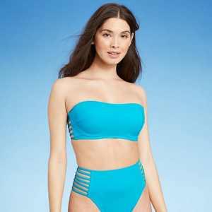 Women's Light Lift Strappy Side Bandeau Bikini Top - Shade & Shore Bright Blue