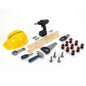 Theo Klein Bosch DIY Construction Premium Toy 37 Piece Toolset with Hardhat, Saw, Wrench, Pliers and Other Accessories for Kids Ages 3 and Up