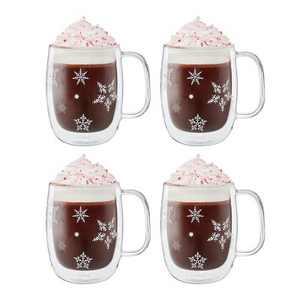 ZWILLING Sorrento Plus 4-pc 12oz. Double Wall Glass Coffee Mug Set