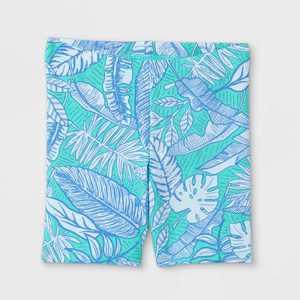 Toddler Girls' Tropical Floral Bike Shorts - Cat & Jack Mint Green