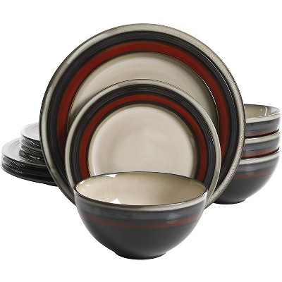 Gibson Elite Everston Complete 12 Piece Elegant Kitchen Stoneware Dinnerware Set with Multi Sized Plates and Bowls, Red/Gray