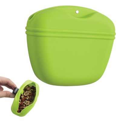 Silicone Dog Treat Snack Pouch Pet Food Container Training Waist Bag with Belt Clip, Green