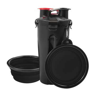 Pet Food Water Bottle 2-in-1 Portable with 2 Collapsible Bowls for Dog Travel Walking Hiking, Black/Black