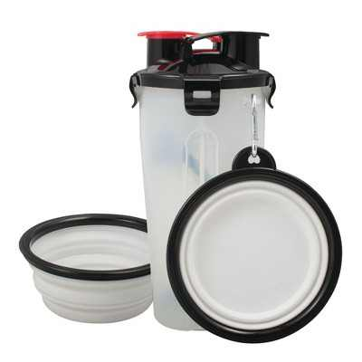 Pet Food Water Bottle 2-in-1 Portable with 2 Collapsible Bowls for Dog Travel Walking Hiking, White/Black