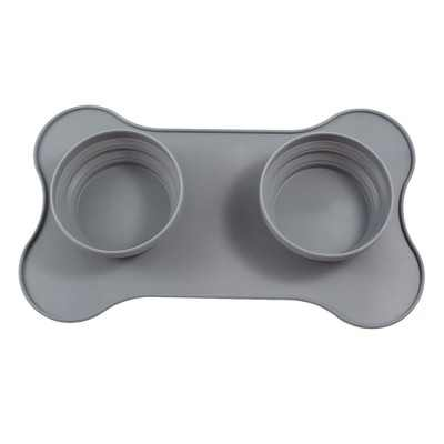 Zodaca Collapsible Dog Bowl Travel Water Food Feeder, Gray Portable Silicone Pet Bowl Mat for Dogs & Cats