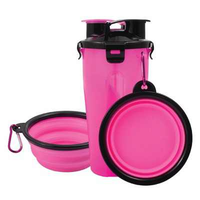 Pet Food Water Bottle 2-in-1 Portable with 2 Collapsible Bowls for Dog Travel Walking Hiking, Pink/Black